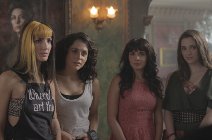 Mexican stand-off: Zuria Vega (second from left) invites a group of friends over to her newly-inherited mansion, apparently ignorant of decades' worth of horror film convention
