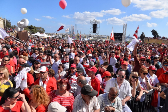 Thousands of Labour Party supporters have descended on Castille square for the party's annual Workers' Day mass meeting. (Photo: James Bianchi/MediaToday)