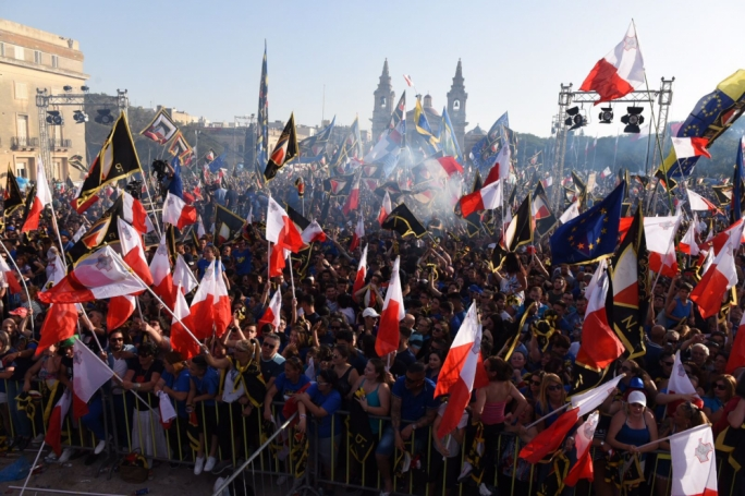 Thousands of PN supporters have attended the party's final mass meeting at the Floriana Granaries. Photo: James Bianchi