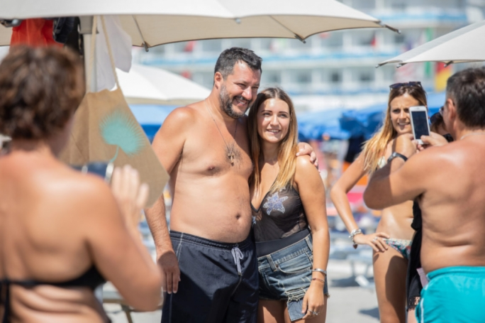 Beach bum: Matteo Salvini has been visiting Italian beaches this summer to make nice with the people
