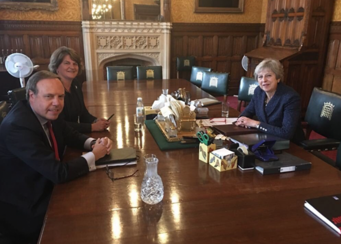 Theresa May (right) met DUP leader Arlene Foster on Wednesday afternoon