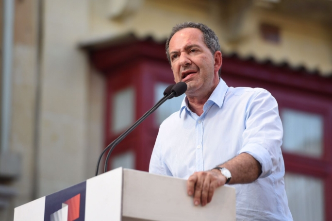 PN deputy leader Mario de Marco addresses a PN mass meeting in Gozo. Photo: James Bianchi