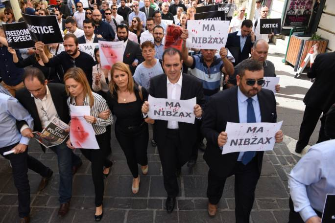 Journalists from all local media houses gathered in Valletta on Thursday