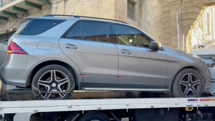 A Mercedes M Class confiscated by the police and taken to the depot for further investigation