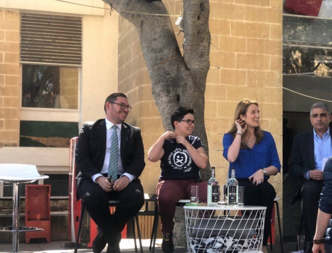 PN MEP Roberta Metsola (right) asked not to be seated next to PL candidate Cyrus Engerer (left), with AD candidate Mina Tolu ending up between them (Photo: Liam Carter)