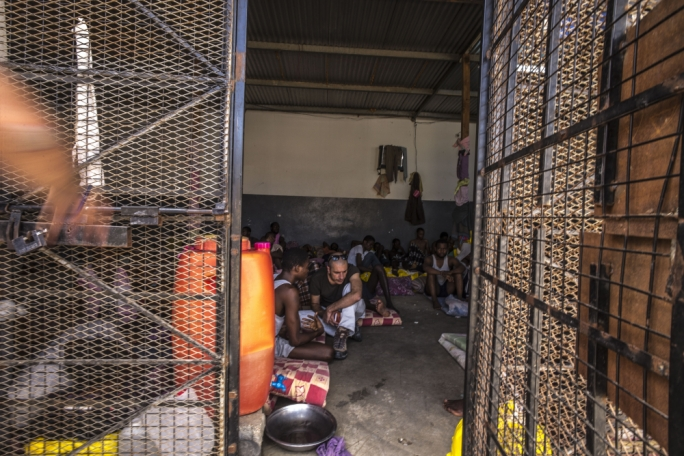 Mark Micallef at a detention centre for refugees in Tripoli. Photo: Robert Young Pelton