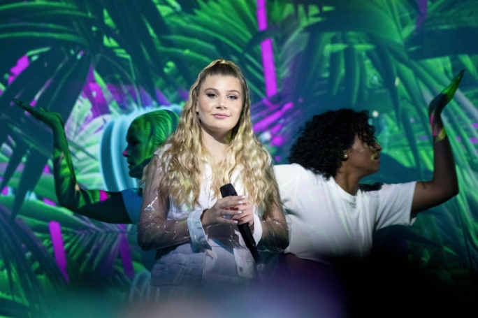 Michela Pace on stage in Thursday's Eurovision semi-final in Tel Aviv