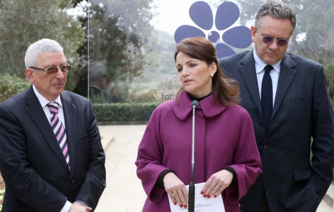 Michelle Muscat (centre) with Sean Hepburn Ferrer, an ambassador for Rare Disease Day 2015