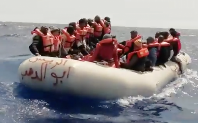 A screen grab of a short video posted by the Spanish NGO SMH, which operates the rescue vessel Aita Mari