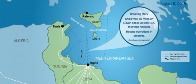 Shipwreck 15 miles off Libyan coast. Courtesy: IOM