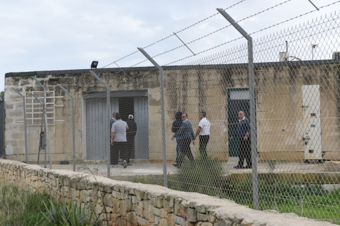 Detained migrants being led inside the Safi detention centre this afternoon (Photo: James Bianchi/MediaToday)