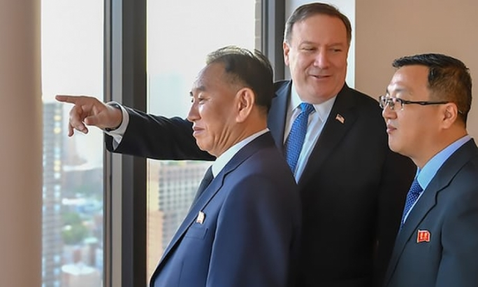 US Secretary of State Mike Pompeo with North Korea's Kim Yong Chole in New York (Photo: Getty Images)