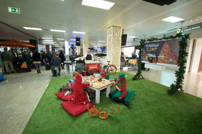 Mini Christmas village at the Malta International Airport