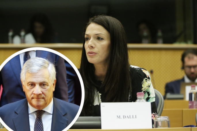 Miriam Dalli has accused Antonio Tajani (inset) of playing partisan games with his comparison of Malta to Hungary