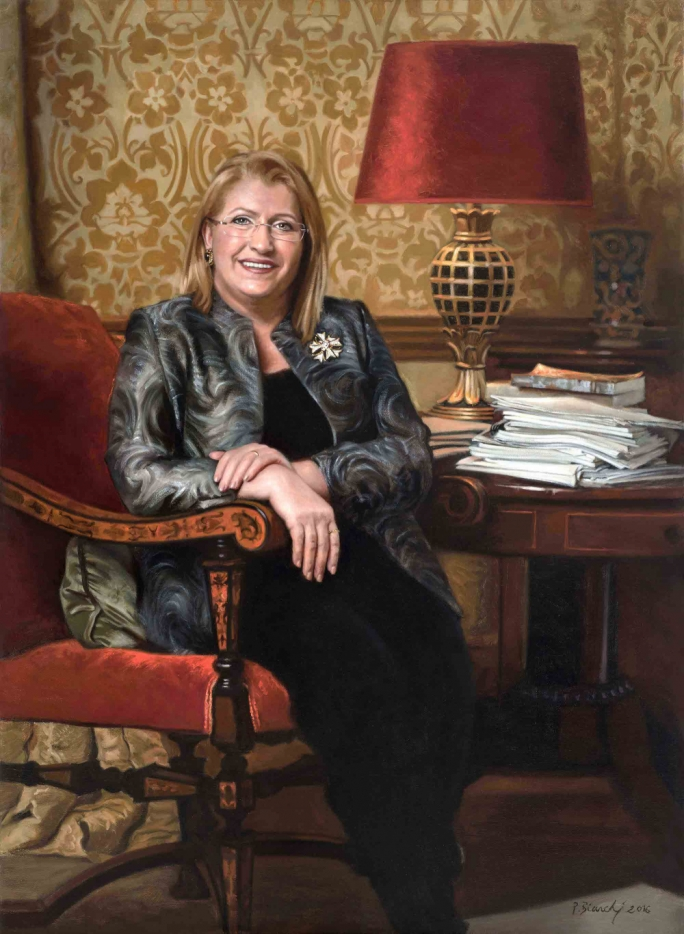 President Marie-Louise Coleiro Preca as painted by artist Philippa Bianchi