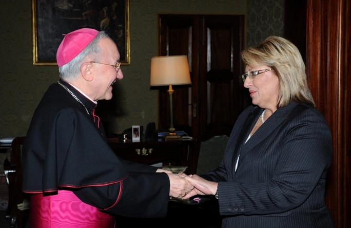 Apostolic Nuncio Aldo Cavalli and Maltese President Marie Louise Coleiro Preca (Photo: Clifton Fenech/DOI)