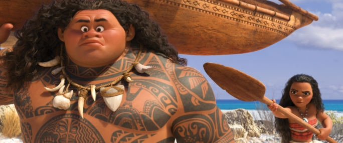 Don't you dare sail away: Maui (Dwayne Johnson) and Moana (Auli'i Cravalho) strike up an uneasy friendship in Disney's latest 3D extravaganza