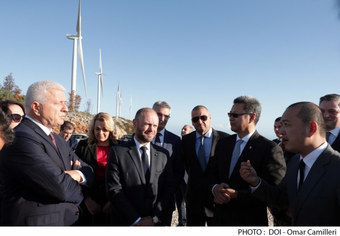 Joseph Muscat and several ministers attended the opening of the Mozura wind farm in Montenegro with part-investment from Enemalta