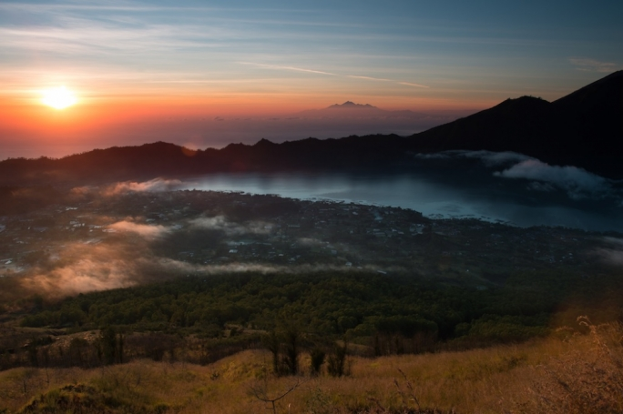 Into the mouth of the volcano of Mount Batur in Bali