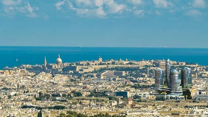 A photomontage by environment NGOs of how the Mriehel towers will look like from Mdina
