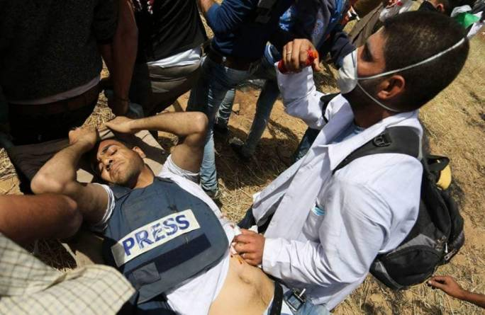 The journalist was shot in the stomach by an Israeli sniper
