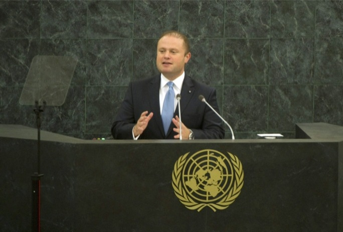 Prime Minister Joseph Muscat addressing last year's United Nations General Assembly