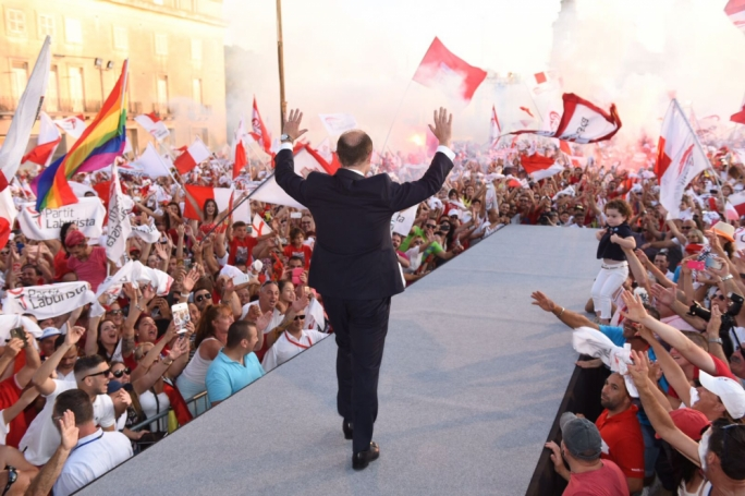 Prime Minister Joseph Muscat gets a hero's welcome at Labour's mass meeting. Photo: James Bianchi