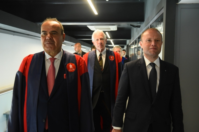 Prime Minister Joseph Muscat was given a tour of AUM's Bormla campus by the owner of Sadeen Education, Hani Salah (left)