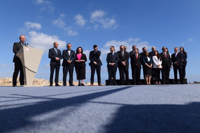Joseph Muscat with the Labour Party's 14 candidates for the European election (Photo: James Bianchi/MediaToday)