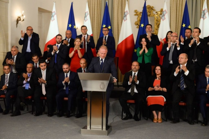 Joseph Muscat received an applause of encouragement from his MPs and ministers after breaking down during the Egrant inquiry press conference