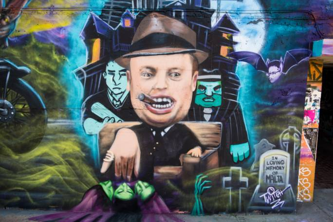 Every time I walked past the mural of Joseph Muscat as (in the artist's own words) a 'vampire mafia don', I simply had to stop and admire this specimen of unparalleled satirical craftsmanship