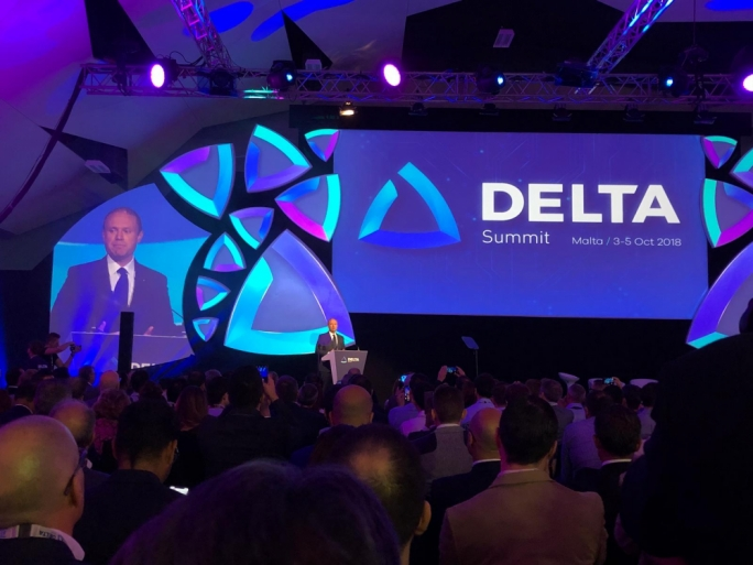 File photo of Joseph Muscat addressing the Delta Summit in October 2018