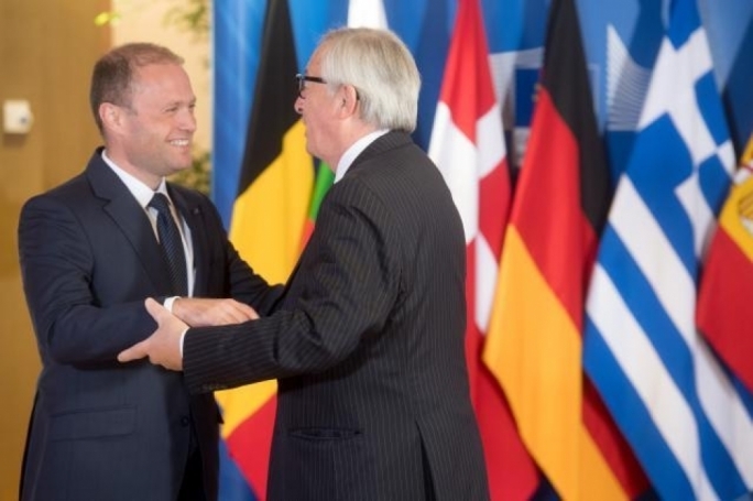 Prime Minister Joseph Muscat with European Commission president Jean Claude Juncker at today's informal meeting in Brussels