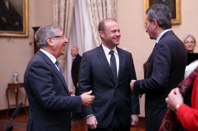Prime Minister Joseph Muscat (centre) with EU fisheries commissioner Karmenu Vella (left) and EU budget commissioner Gunther Oettinger (right)