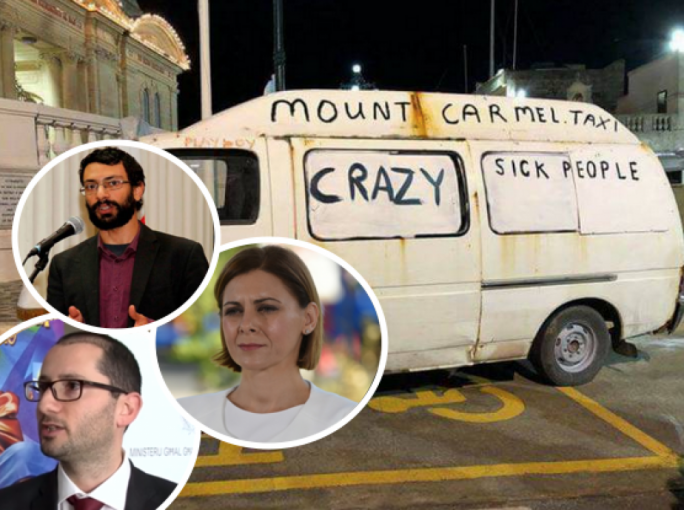 The van that caused outrage last year: Inset from top are Mark Camilleri, Justyne Caruana and Edward Said
