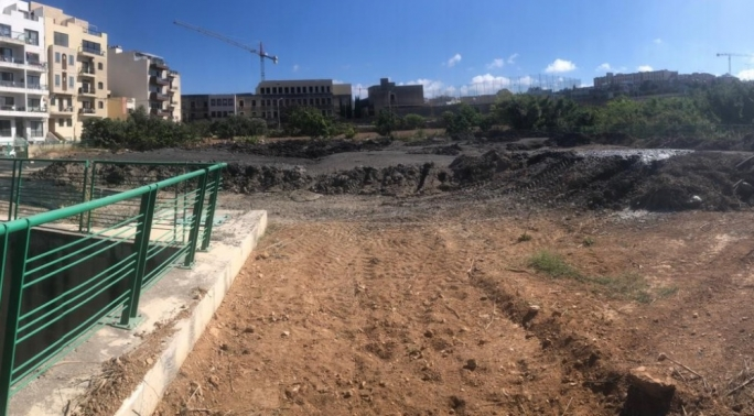 Sludge dumped in an open area in Gżira came from works on the flood relief tunnels that had to be cleared of sediment (Photo: ERA)