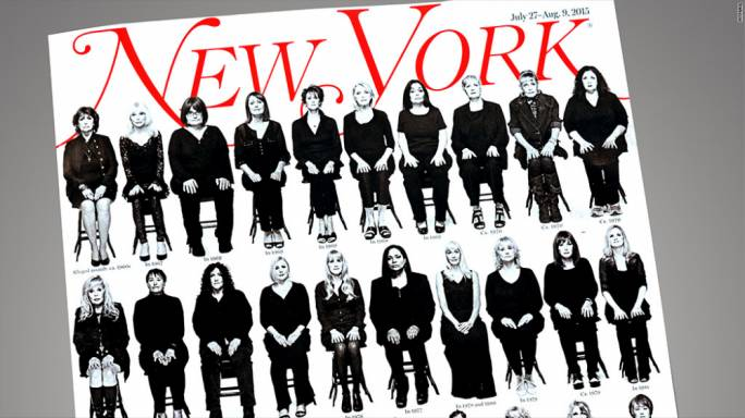 The cover of the New York Magazine, showing 35 of the women who agreed to be interviewed and photographed, sitting on rows of chairs staring directly into the camera, is an image which is difficult to dismiss