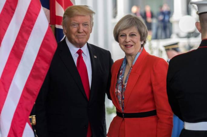 Donald Trump and Theresa May during a visit (Photo: the Sun)