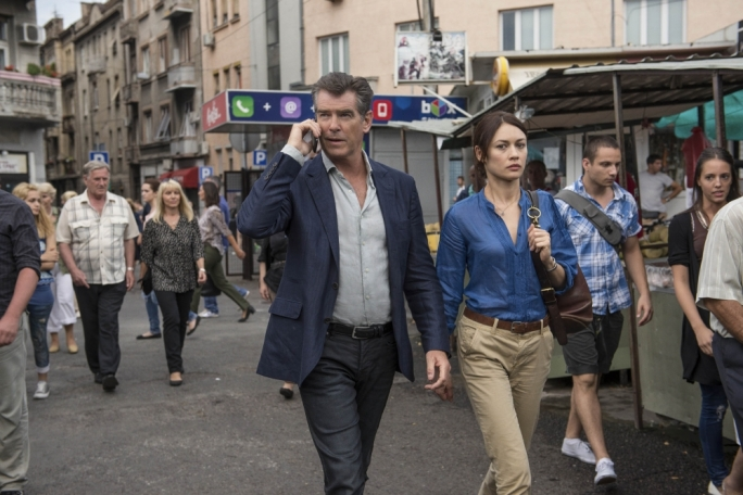 Former Bond Pierce Brosnan and former Bond girl Olga Kurylenko in November Man