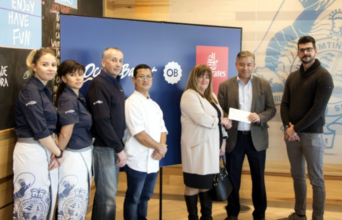 Picture shows Carmen Borg (fifth from left) receiving her prize in the presence of (from left) Zhaneta Katrishka (Ocean Basket Front of House Manager), Iskra Stefanova (Ocean Basket Kitchen Manager), Jon Smith (Ocean Basket Operations Manager), Maheshwor Shrestha (Ocean Basket Sushi Chef), Paul Fleri Soler (Emirates Manager Malta) and Daniel Borg