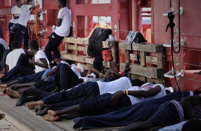 More than 350 rescued migrants are currently stranded on board the Ocean Viking