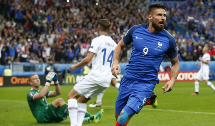 Olivier Giroud scored twice to help France make it to the last four