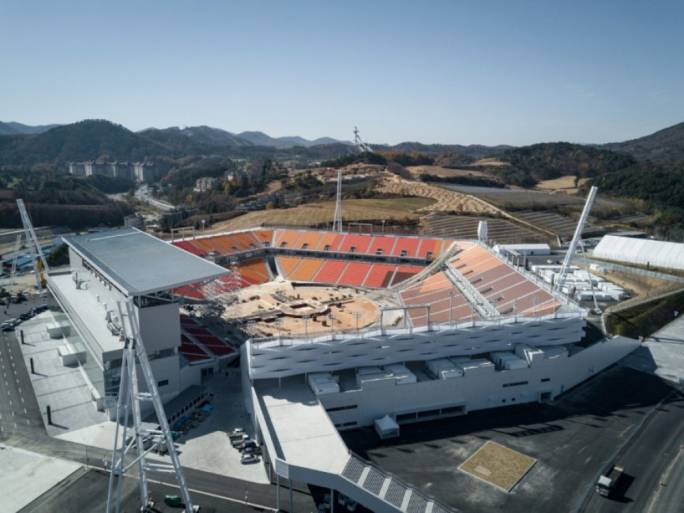 The roofless stadium where the opening ceremony will be held