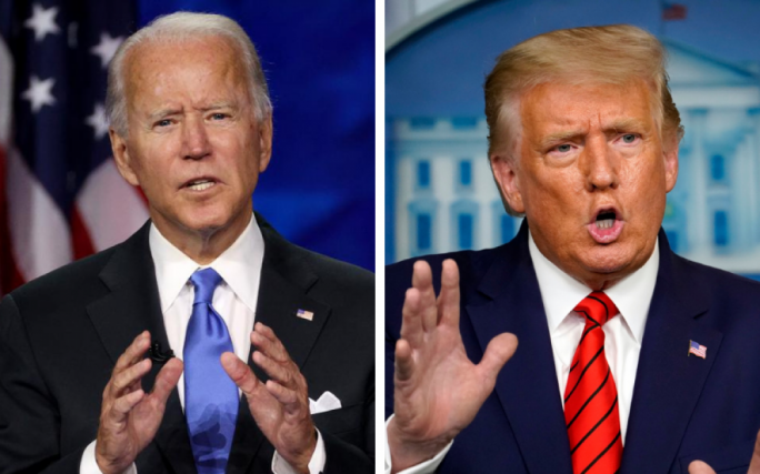Democratic presidential nominee Joe Biden (Left) and US President Donald Trump (Right)