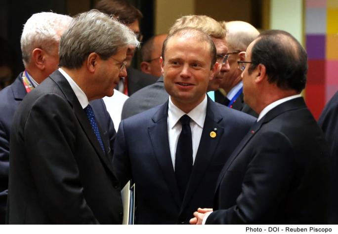 Prime Minister Joseph Muscat with Prime Minister of Italy Paolo Gentiloni and President of France François Hollande