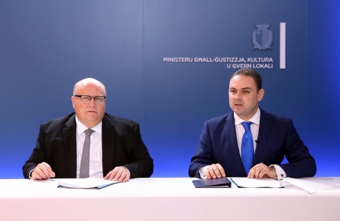 Attorney General Peter Grech (left) currently occupies the role of chairperson of the FIAU board, a situation Justice Minister Owen Bonnici (right) is ready to re-evaluate when the current term comes to an end next year
