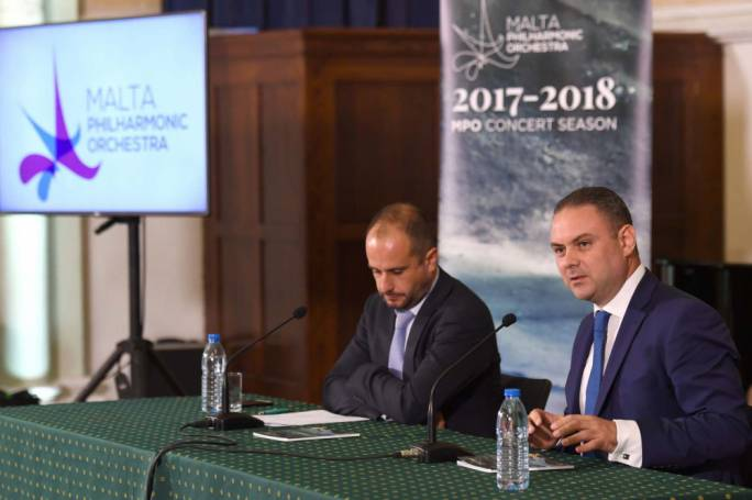 Culture Minister Owen Bonnici flanked by Malta Philharmonic Orchestra's executive chairman Sigmund Mifsud