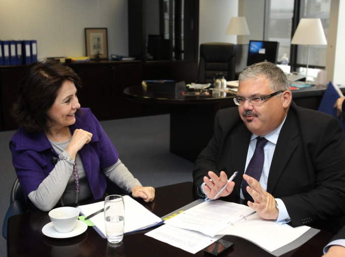 Former EU Commissioner Maria Damanaki (left) had requested an investigation by the rural affairs ministry, then under George Pullicino (right), which tasked the IAID to investigate the allegations in 2010