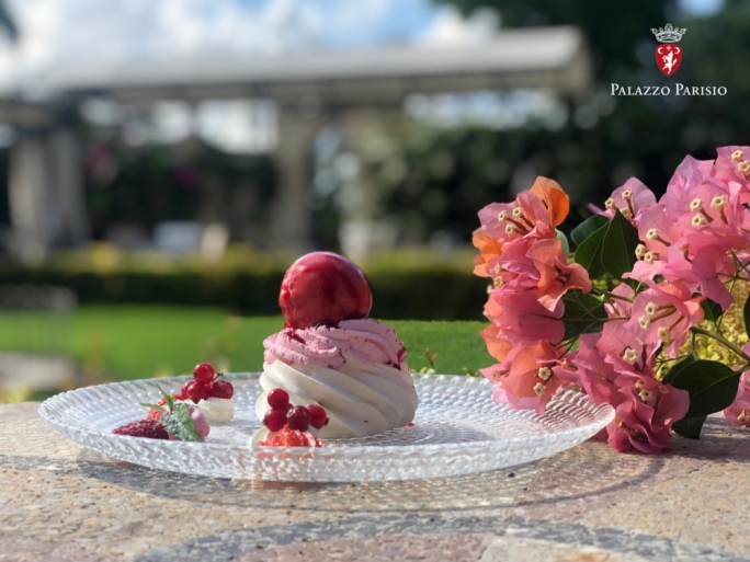 Palazzo Parisio's chefs have come up with a pink raspberry pavlova dessert to mark Pink October