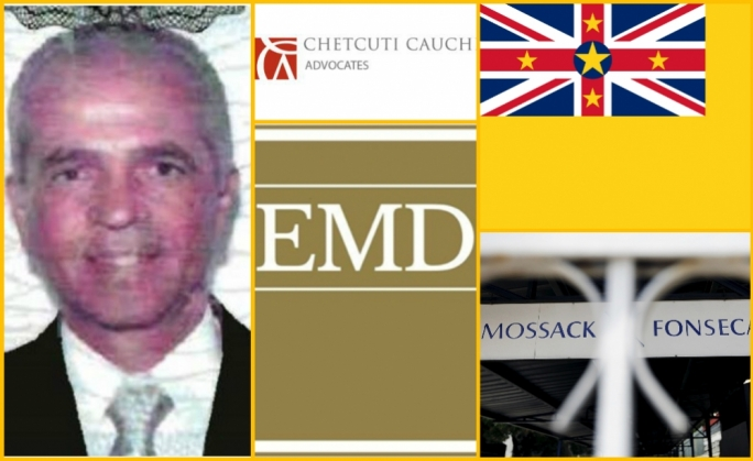 Clockwise from left: Michael del Vecchio, who runs Bald Eagle SA, CAC Fiduciary, the flag of Niue, Mossack Fonseca, and EMD Advocates